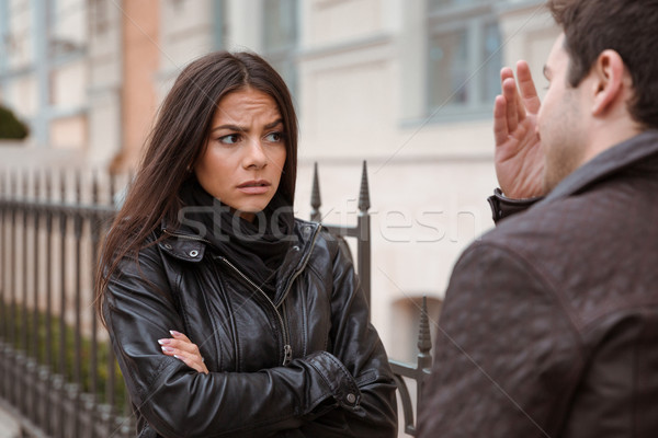 Couple quarreling outdoors Stock photo © deandrobot