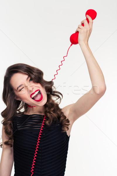 Zabawny funny retro kobieta telefon kabel Zdjęcia stock © deandrobot