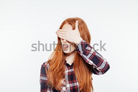 Vrouw ogen tonen tong geïsoleerd Stockfoto © deandrobot