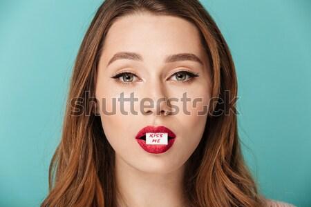 Beleza retrato mulher bonita make-up batom vermelho bastante Foto stock © deandrobot