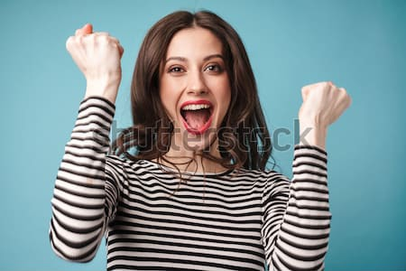 Woman screaming and making funny face Stock photo © deandrobot