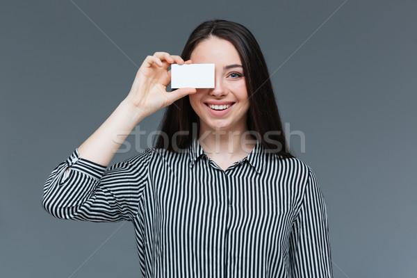 Mutlu kadın göz boş kart gri kız Stok fotoğraf © deandrobot
