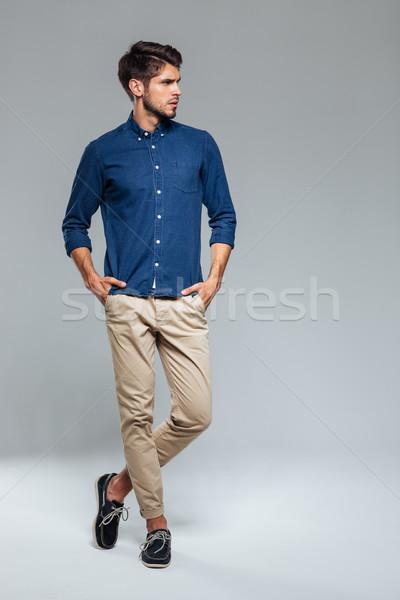 肖像 カジュアル 男 立って 手 ファッション ストックフォト © deandrobot