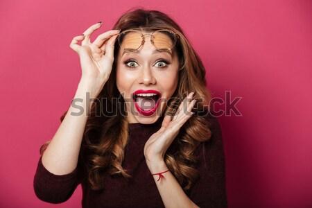 Lány alsónemű kamera stúdió izolált szürke Stock fotó © deandrobot