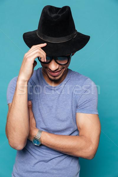 Porträt stylish afro Mann hat Stock foto © deandrobot