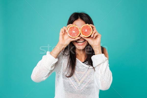 Grappig vrouw grapefruit ogen Stockfoto © deandrobot