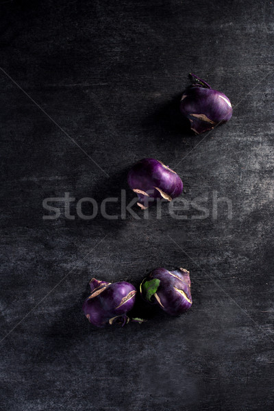 cabbage kohlrabi over dark background Stock photo © deandrobot