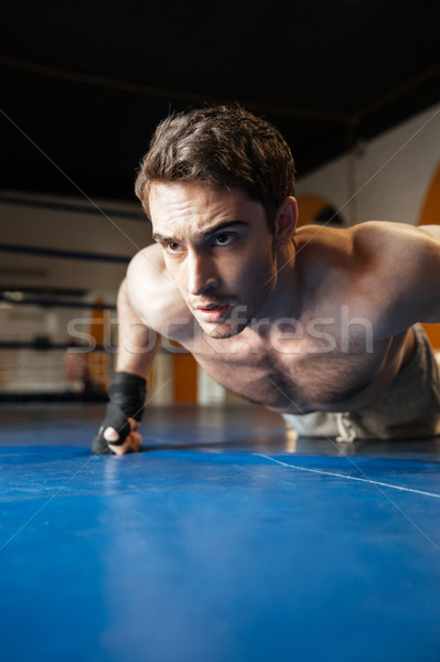 Vertical image of boxer doing push ups Stock photo © deandrobot