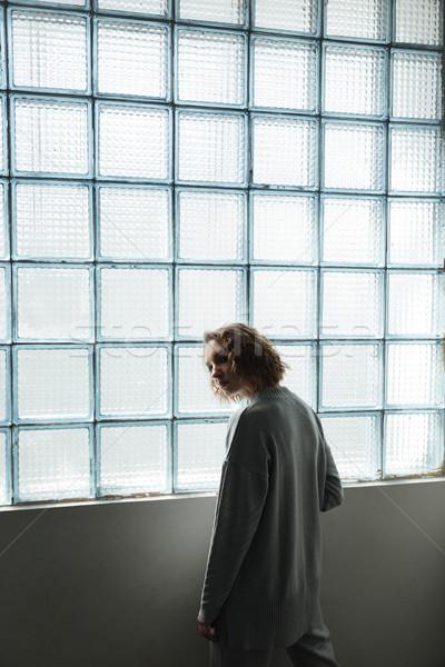 Fiatal nő áll ablak fiatal rendkívüli lány Stock fotó © deandrobot