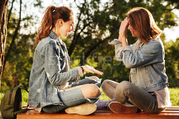 Two pretty girls clap their hands while sitting on wooden bench  Stock photo © deandrobot