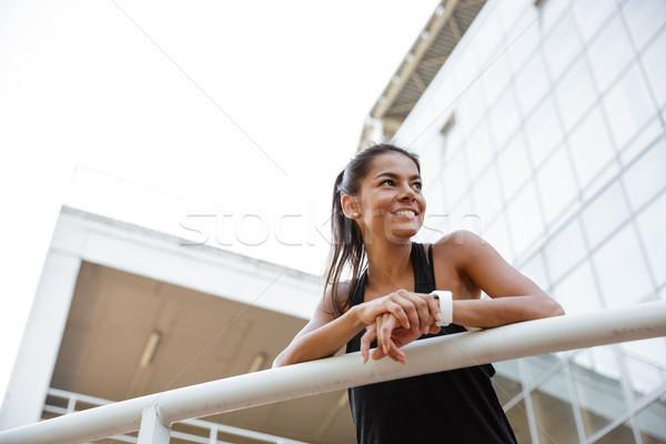 Retrato feliz mulher da aptidão trilho Foto stock © deandrobot