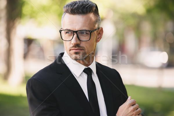Portret udany biznesmen garnitur spaceru na zewnątrz Zdjęcia stock © deandrobot