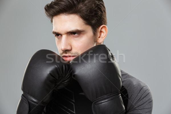 Concentrado jóvenes boxeador deporte Foto stock © deandrobot