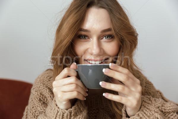 Fotografia zadowolony kobieta domu Zdjęcia stock © deandrobot