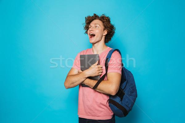 изображение студент человека вьющиеся волосы случайный Сток-фото © deandrobot