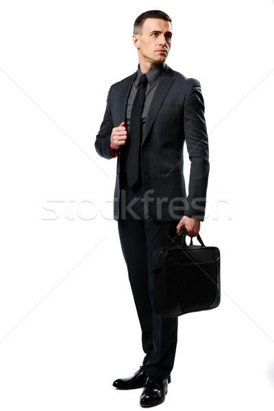 портрет бизнесмен сумку изолированный белый фон Сток-фото © deandrobot
