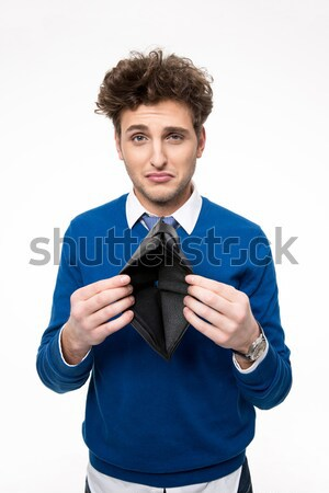 Handsome young man pointing finger at you Stock photo © deandrobot