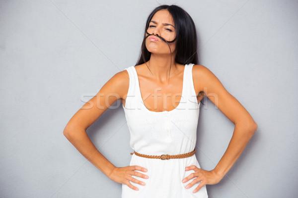 美人 口ひげ 髪 グレー 女性 ストックフォト © deandrobot