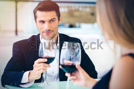 человека питьевой подруга красивый формальный Сток-фото © deandrobot