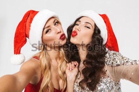 Due bella sorelle rosso Foto d'archivio © deandrobot