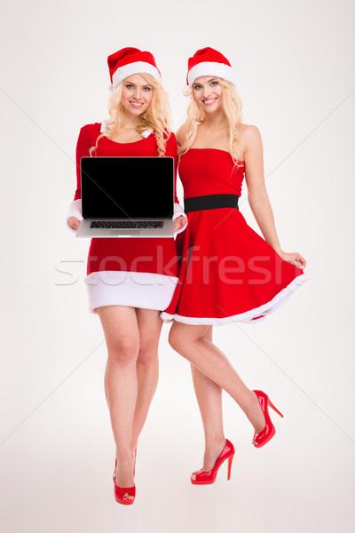 Dwa atrakcyjny uśmiechnięty siostry bliźnięta Zdjęcia stock © deandrobot