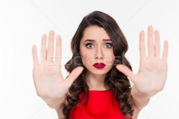 深刻 女性 一時停止の標識 手のひら 肖像 ストックフォト © deandrobot