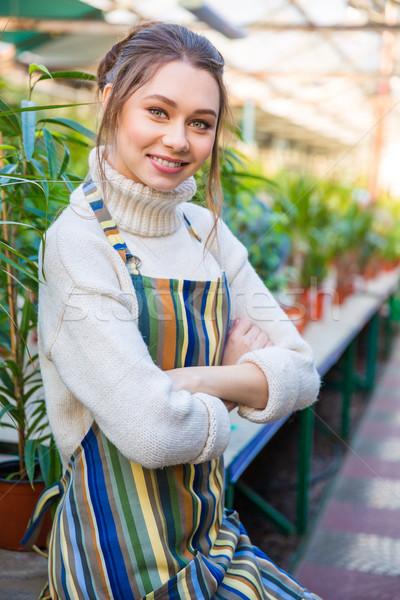 美人 植木屋 立って 手 折られた 肖像 ストックフォト © deandrobot