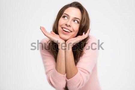 Csinos nő álmodik izolált fehér lány mosoly Stock fotó © deandrobot