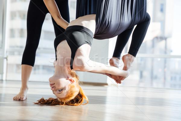 красивая женщина создают йога Личный тренер довольно Сток-фото © deandrobot