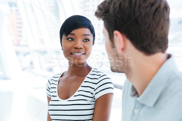 Portre gülümseyen kadın yakışıklı adam genç güzel Stok fotoğraf © deandrobot