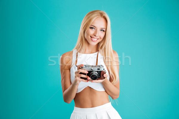 笑みを浮かべて 若い女性 長髪 レトロな カメラ ストックフォト © deandrobot