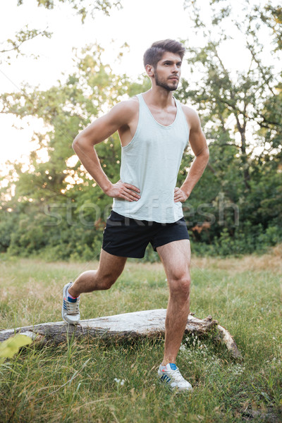 Male runner warming up in forest Stock photo © deandrobot