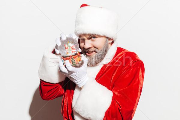Retrato sonriendo hombre papá noel jugando nieve Foto stock © deandrobot