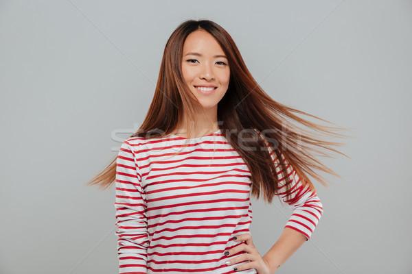 Ritratto felice bella asian ragazza capelli lunghi Foto d'archivio © deandrobot