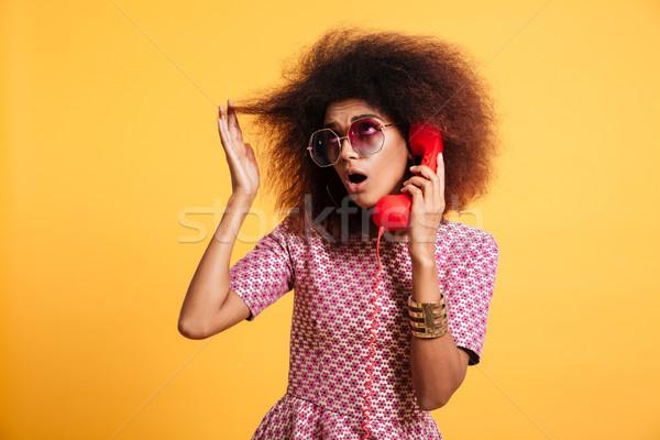 портрет афро американский женщину ретро-стиле одежды Сток-фото © deandrobot