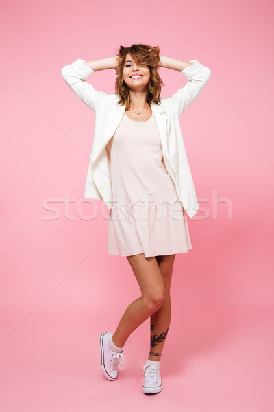 Teljes alakos portré elragadtatott lány nyár ruha Stock fotó © deandrobot