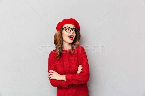 Ritratto donna rosso maglione Foto d'archivio © deandrobot