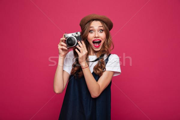 Boldog hölgy visel ahogy párizsi tart Stock fotó © deandrobot