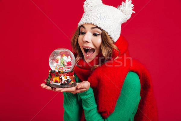 Mooie vrouw hoed warm sjaal afbeelding Stockfoto © deandrobot
