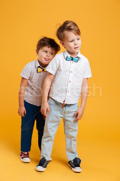 Dwa funny mały dzieci bracia zdjęcie Zdjęcia stock © deandrobot