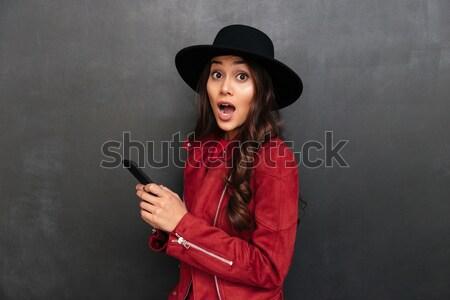 удивленный Hat мобильного телефона Сток-фото © deandrobot
