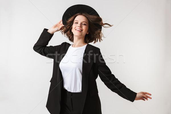 肖像 満足した 若い女性 黒 ジャケット サングラス ストックフォト © deandrobot