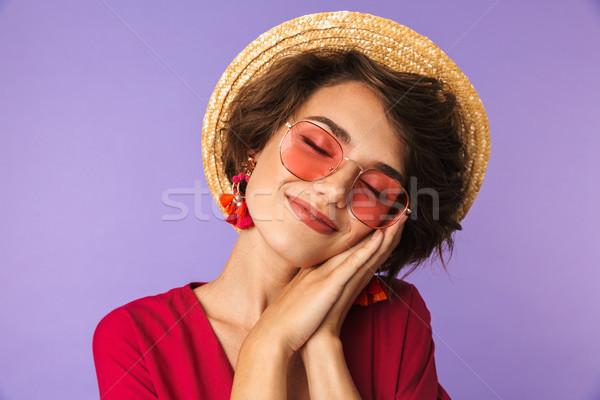 Zufrieden ziemlich Brünette Frau Kleid Strohhut Stock foto © deandrobot
