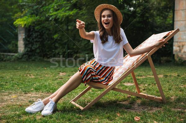 若い女の子 ハンモック 市 公園 屋外 ストックフォト © deandrobot