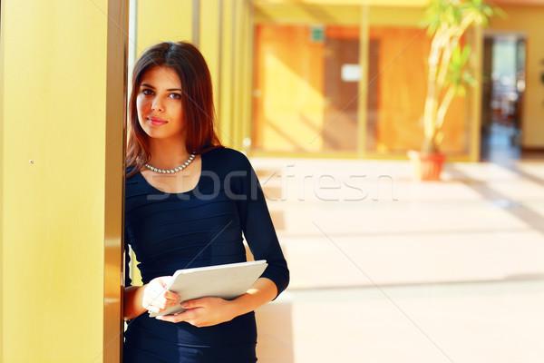 小さな 美しい 女性 学生 立って キャンパス ストックフォト © deandrobot