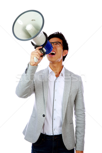 Retrato jovem asiático homem megafone Foto stock © deandrobot