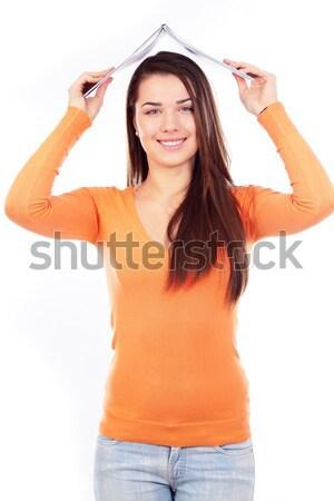 Smiling sporty woman making selfie photo Stock photo © deandrobot