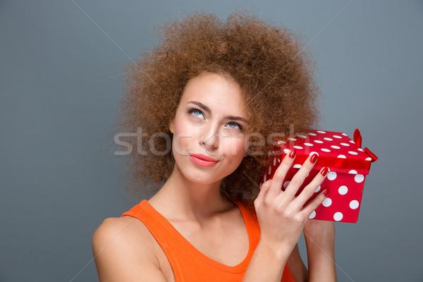 Excitado curioso femenino sorpresa Foto stock © deandrobot