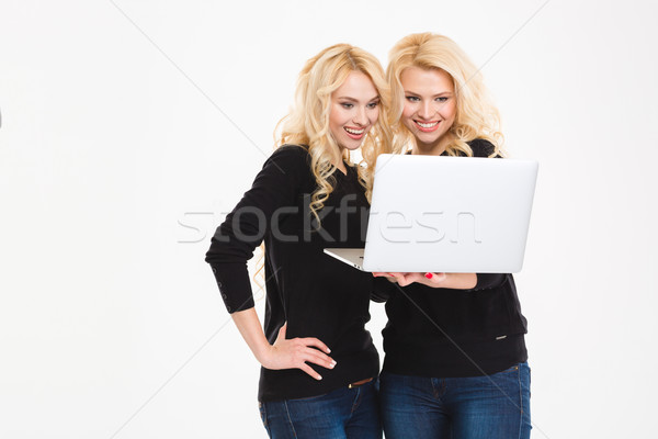 Feliz hermanas gemelos usando la computadora portátil ordenador retrato Foto stock © deandrobot