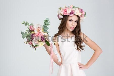 Moda portre güzel bir kadın çelenk çiçekler Stok fotoğraf © deandrobot